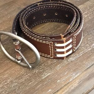 Linea Pelle Brown stitched leather belt
